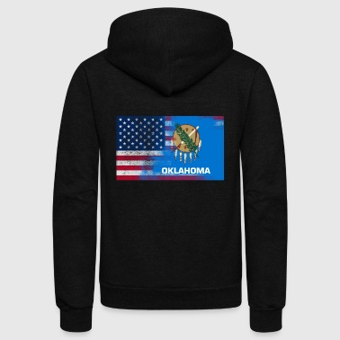 Oklahoma American Flag Fusion - Unisex Fleece Zip Hoodie by American Apparel