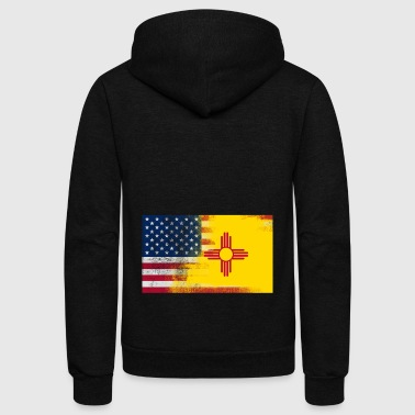 New Mexico American Flag Fusion - Unisex Fleece Zip Hoodie