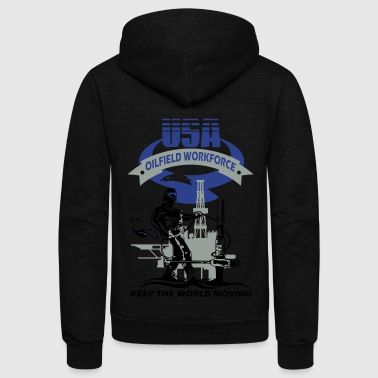 USA Oil Rig Workforce Keep The World Moving - Unisex Fleece Zip Hoodie