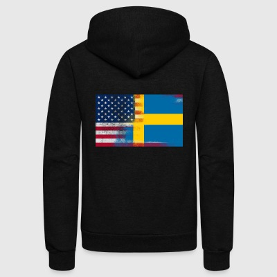 Swedish American Half Sweden Half America Flag - Unisex Fleece Zip Hoodie by American Apparel