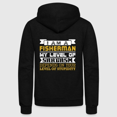 Im Fisherman Level Sarcasm Depends Level Stupidity - Unisex Fleece Zip Hoodie by American Apparel