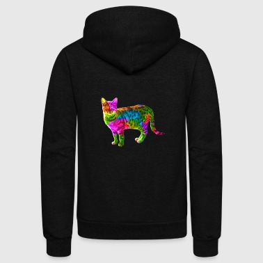 Colorful Cat - Unisex Fleece Zip Hoodie