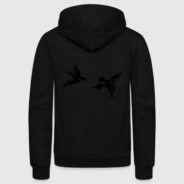 stylized birds - Unisex Fleece Zip Hoodie