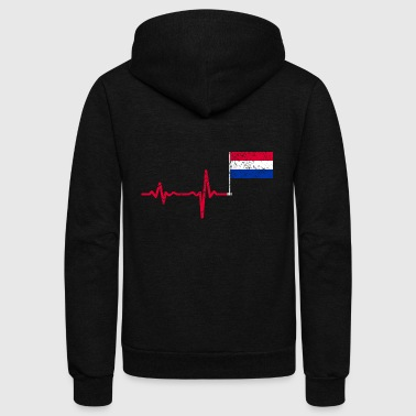 Heartbeat Netherlands flag gift - Unisex Fleece Zip Hoodie
