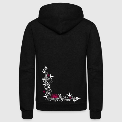 Bamboo with small blossoms and lotus flower. - Unisex Fleece Zip Hoodie by American Apparel