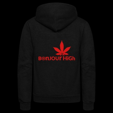 Bonjour High (Canada Red) - Unisex Fleece Zip Hoodie