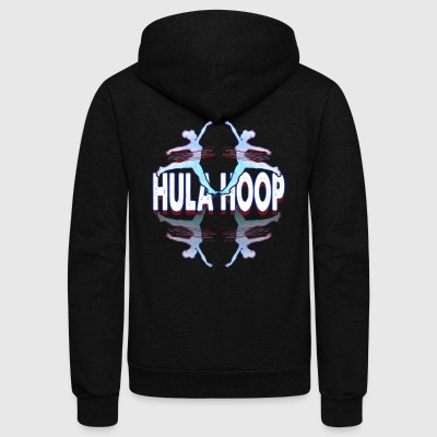 SILHOUETTE OF GIRL WITH HULA HOOP SHIRT - Unisex Fleece Zip Hoodie by American Apparel