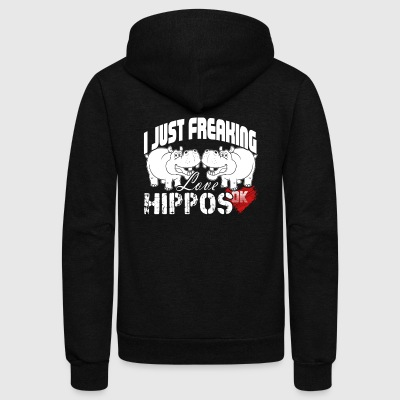 I JUST FREAKING LOVE HIPPOS OK FUNNY HIPPO SHIRT - Unisex Fleece Zip Hoodie by American Apparel