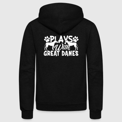 PLAYS GREAT DANES SHIRT - Unisex Fleece Zip Hoodie by American Apparel
