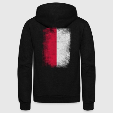 Poland Flag Proud Polish Vintage Distressed Shirt - Unisex Fleece Zip Hoodie by American Apparel