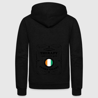 DON T NEED THERAPIE GO IVORY COAST - Unisex Fleece Zip Hoodie by American Apparel