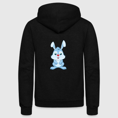 Cute Rabbit - Unisex Fleece Zip Hoodie by American Apparel