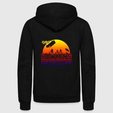 Visit Hawkins Indiana Stranger Things - Unisex Fleece Zip Hoodie by American Apparel