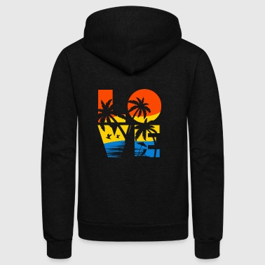 design summer vacation- Love - Unisex Fleece Zip Hoodie