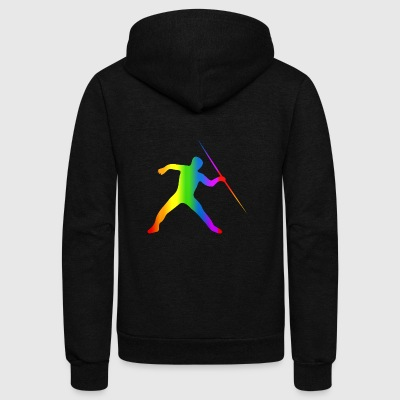 Colorful Javelin Throw Rainbow - Unisex Fleece Zip Hoodie by American Apparel