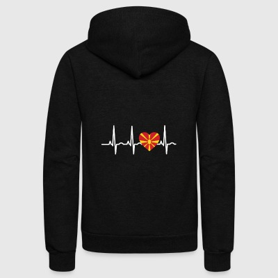 I LOVE ekg heartbeat MAZEDONIEN Macedonia - Unisex Fleece Zip Hoodie by American Apparel