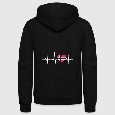 I LOVE ekg heartbeat NORWEGEN norway denmark - Unisex Fleece Zip Hoodie