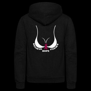 BELIEVE HOPE FIGHT CANCER - Unisex Fleece Zip Hoodie
