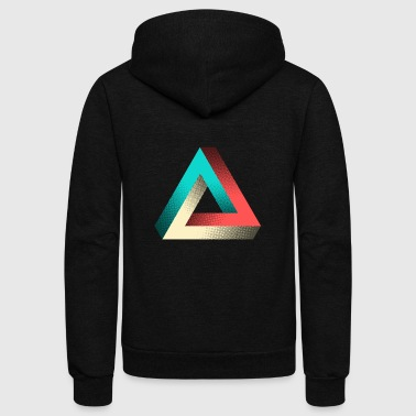Impossible Penrose Triangle Illusion Design - Unisex Fleece Zip Hoodie