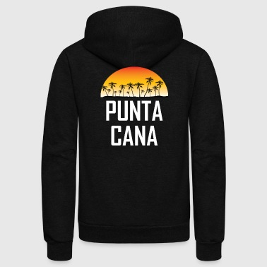 Punta Cana Sunset And Palm Trees Beach - Unisex Fleece Zip Hoodie by American Apparel