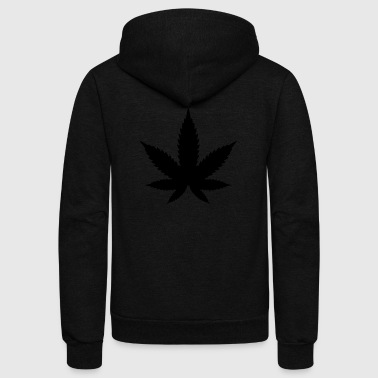Black Marijuana Leaf - Unisex Fleece Zip Hoodie by American Apparel
