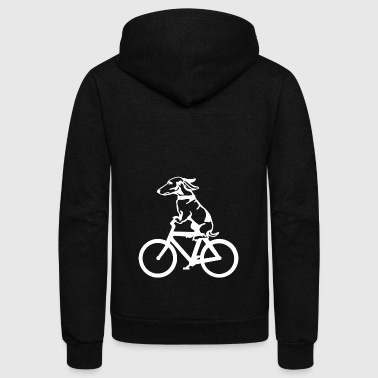 Dog Ride Bicycle shirts- Funny DOg On Bicycle - Unisex Fleece Zip Hoodie by American Apparel