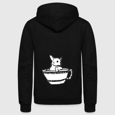 Chihuahua shirts- Funny Chihuahua On Cup tshirt - Unisex Fleece Zip Hoodie by American Apparel