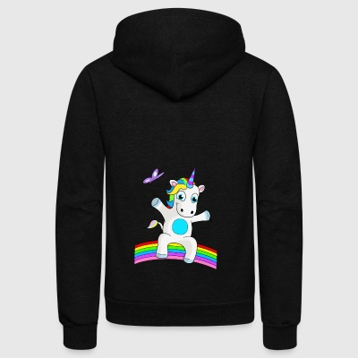 YOUNG UNICORN SITTING ON RAINBOW - Unisex Fleece Zip Hoodie by American Apparel