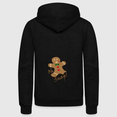 Oh Snap Gingerbread Man Christmas Shirt - Unisex Fleece Zip Hoodie