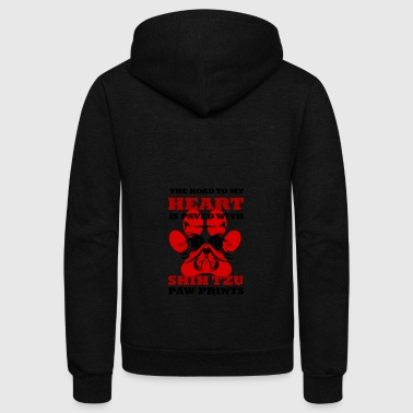 Road to My Heart Is Paved With Shitzu Paw Prints - Unisex Fleece Zip Hoodie