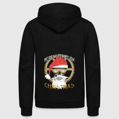 Merry Steampunk Christmas Clothing Skull Steampunk - Unisex Fleece Zip Hoodie by American Apparel