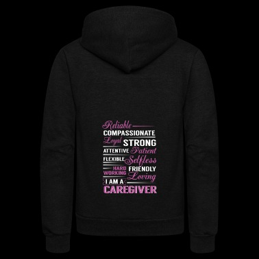 Reliable compassionante loyal strong I'm caregiver - Unisex Fleece Zip Hoodie