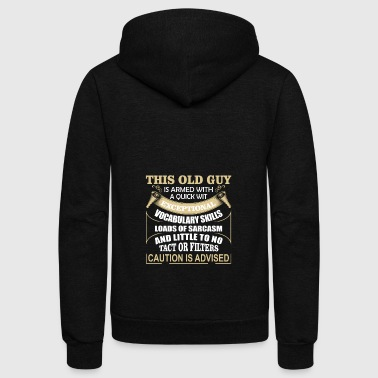Old guy is armed with exceptional vocabulary skill - Unisex Fleece Zip Hoodie