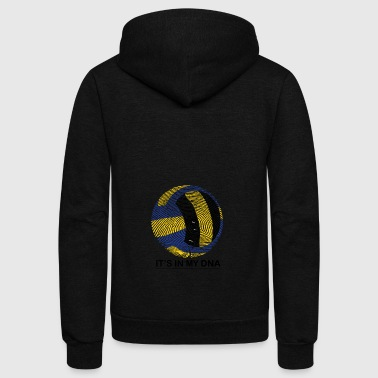 Volleyball in my DNA gift fingerprint - Unisex Fleece Zip Hoodie by American Apparel