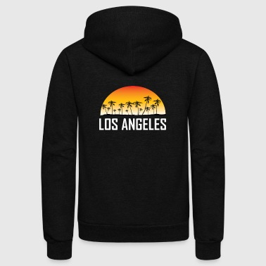 Los Angeles Sunset And Palm Trees Beach - Unisex Fleece Zip Hoodie