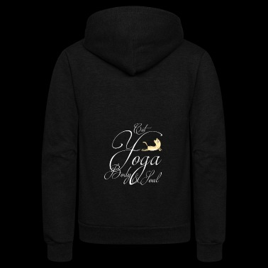 yoga cat body soul lettering meow namaste gym om - Unisex Fleece Zip Hoodie
