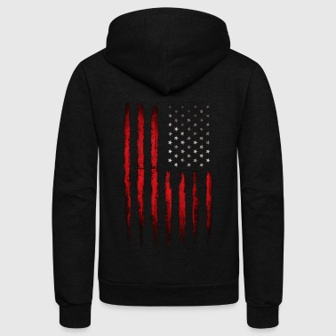 American flag Vintage Patriotic Grunge - Unisex Fleece Zip Hoodie by American Apparel