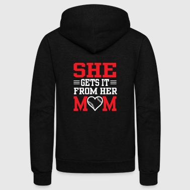 She Gets It From Her Mom - Funny Softball Mom Shi - Unisex Fleece Zip Hoodie