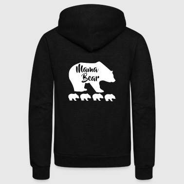 Mama Bear + 4 Cubs - Unisex Fleece Zip Hoodie by American Apparel