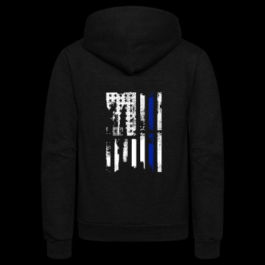 Thin Blue Line USA Shirt - Unisex Fleece Zip Hoodie