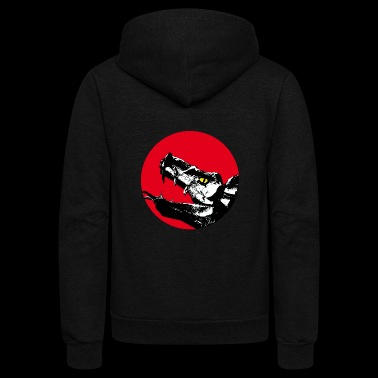 dragon head on red - Unisex Fleece Zip Hoodie