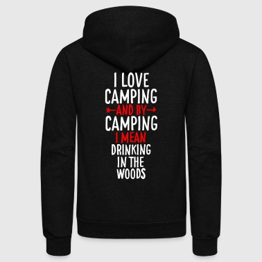 Camping Tee Shirt - Unisex Fleece Zip Hoodie by American Apparel