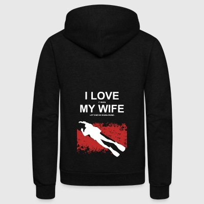 Scuba love my wife 02 - Unisex Fleece Zip Hoodie by American Apparel
