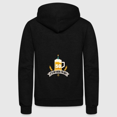 It s My Beer th Day 50 Years Old - Unisex Fleece Zip Hoodie by American Apparel