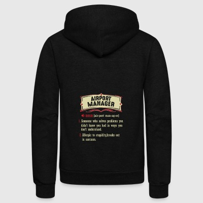 Airport Manager Dictionary Term Sarcastic - Unisex Fleece Zip Hoodie by American Apparel