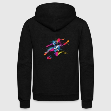 Women's Soccer Color Splatter - Unisex Fleece Zip Hoodie