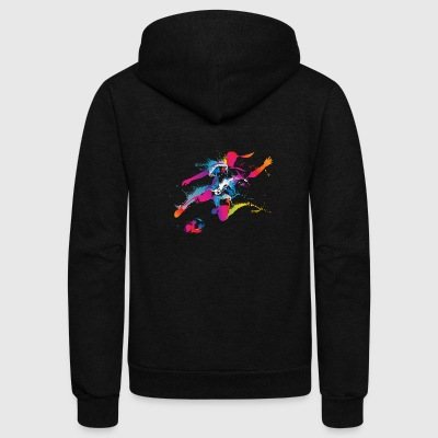 Women's Soccer Color Splatter - Unisex Fleece Zip Hoodie by American Apparel