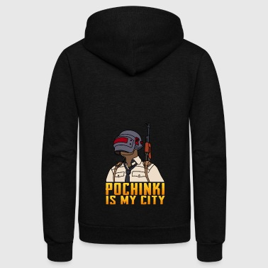POCHINKI IS MY CITY - Unisex Fleece Zip Hoodie by American Apparel