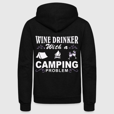 Wine drinker with a Camping problem - Unisex Fleece Zip Hoodie by American Apparel