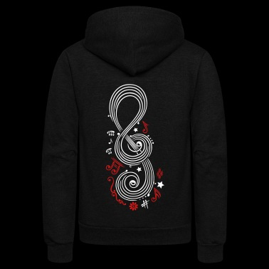 Big Clef with music notes - Unisex Fleece Zip Hoodie